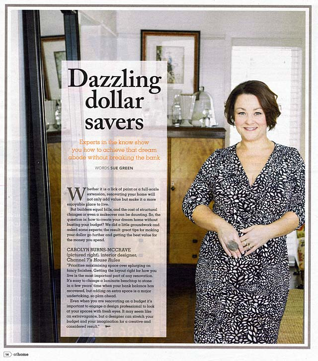 Carolyn Burns-McCrave's interior design advice for saving money